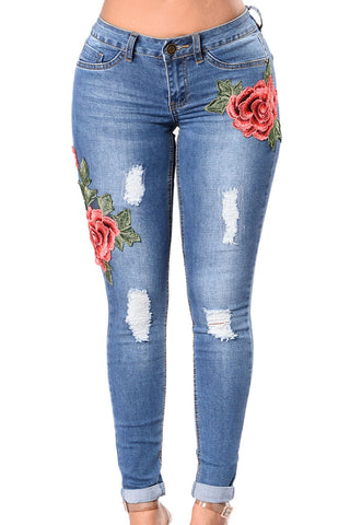 Rose Embroidered Whisker Detail Skinny Jeans