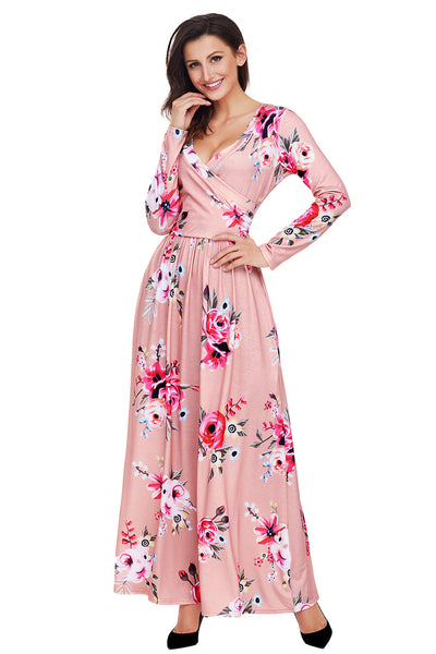 Mauve Floral Surplice Long Sleeve Maxi Boho Dress
