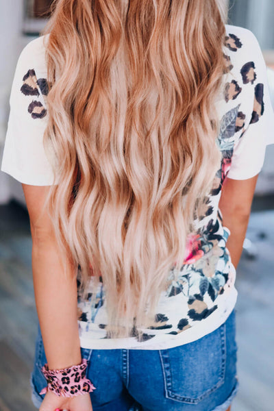 White Leopard Printed Criss-Cross Tee
