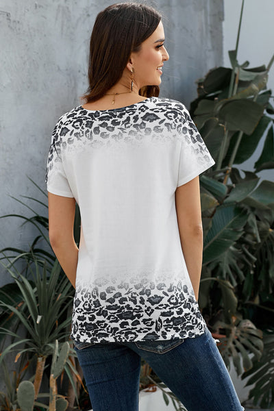 White Loose Snow Leopard Top