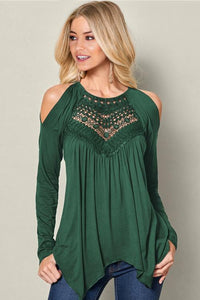 Green Long Sleeve Flowy Lace Cold Shoulder Top