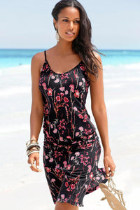 Red Blooming Flower Print Summer Slip Dress