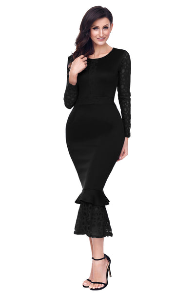 Black Hollow-out Long Sleeve Lace Ruffle Bodycon Midi Dress