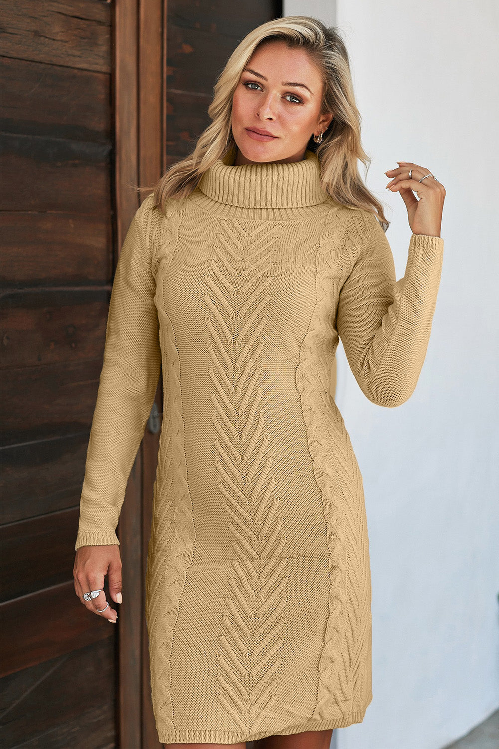 Khaki Hand Knitted High Neck Sweater Dress