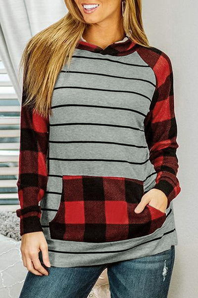 Stripe Red Plaid Long Sleeve Kangaroo Pocket Hoodie