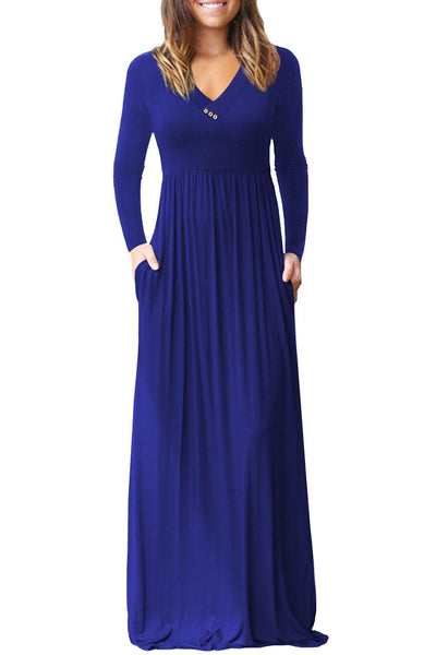 Royal Blue V Neck Pocket Style Long Jersey Dress