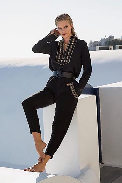 Black Boho Embroidered V Neck long Sleeve Casual Top