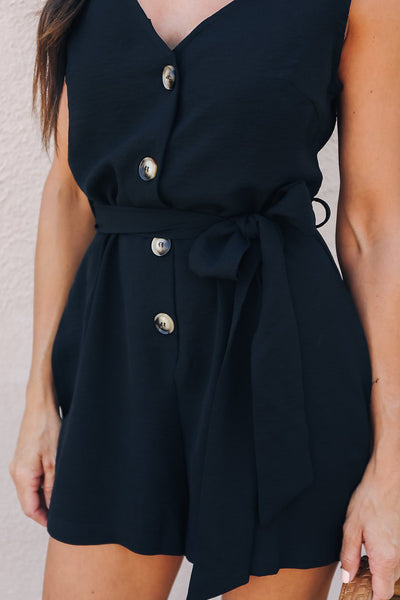 Black Belted Button up Romper