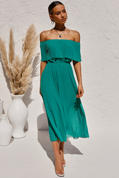 Green Off-the-shoulder Pleated Tunic Chiffon Long Dress