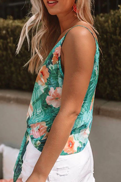 Green Buttoned Floral Tank Top with Tie