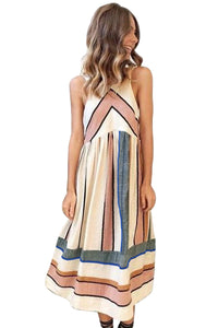 Apricot Striped Bohemian Fashion Midi Dress