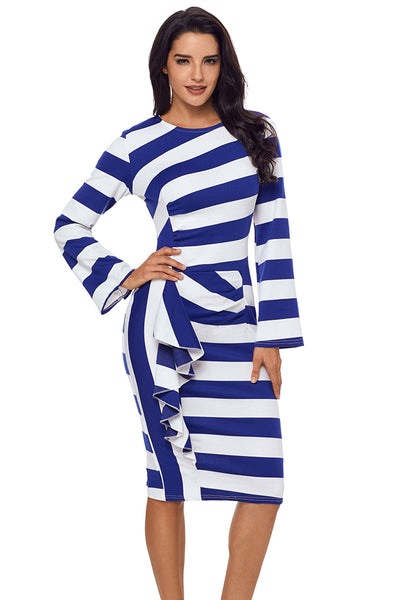 Blue Striped Ruffle Side Back Slit Long Sleeve Midi Dress