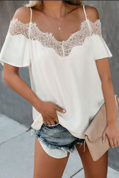 White Lace V Neck Strappy Cold Shoulder Short Sleeves Top