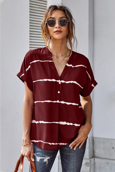 Red Striped Folded Short Sleeve Shirt