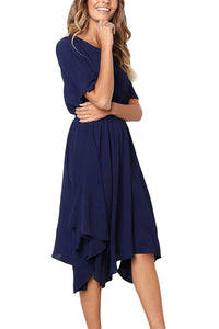 Blue Chiffon Irregular Hem Short Sleeve Pleated Dress