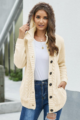 Beige Fur Hood Knit Sweater