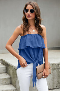 Blue Oceanside Ruffle Strapless Tie Top