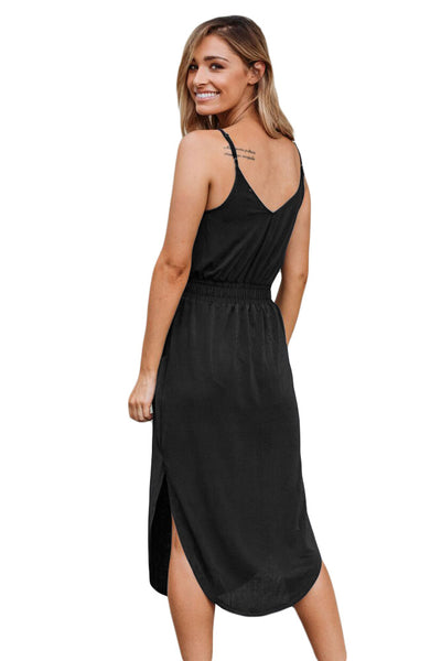 Black Spaghetti Straps Drawstring Waist Midi Dress