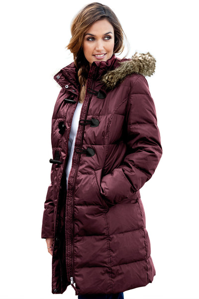 Burgundy Toggle Button Quilted Coat for Women