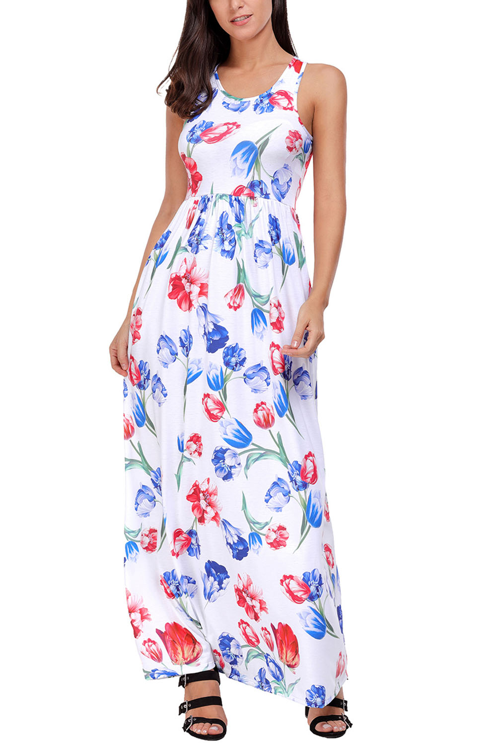White Blossom Print Sleeveless Long Boho Dress
