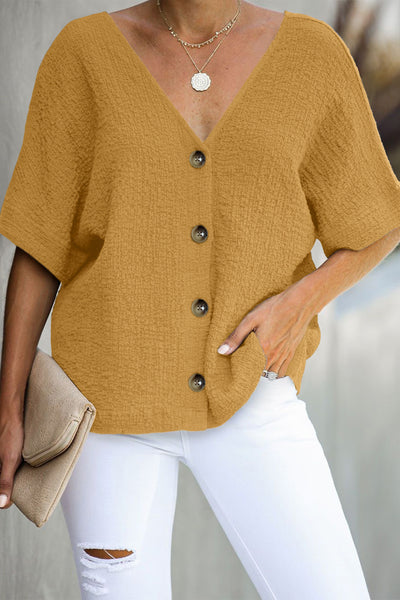 Yellow Soak It Up Cotton Button Down Blouse