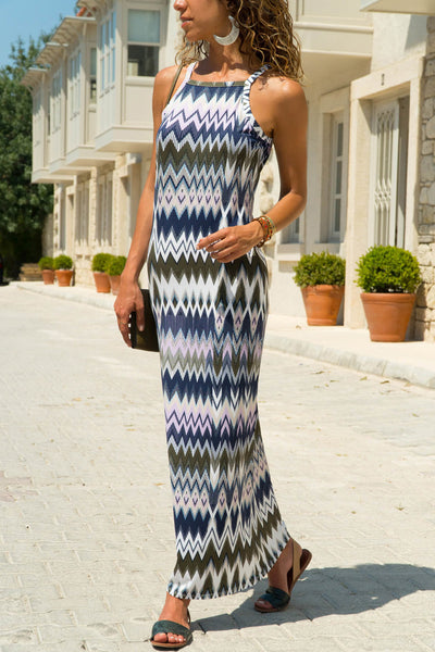 Multicolor Zigzag Pattern Holiday Maxi Dress