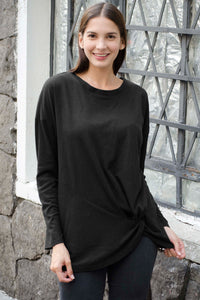 Black Solid Knotted Knitted Top