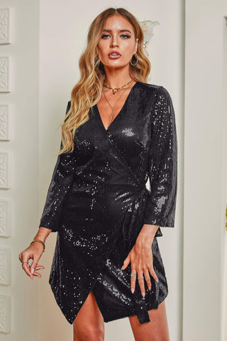 Sequin Wrap Dress with Sash
