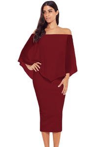 Red Off Shoulder Sleeve Detail Bodycon Midi Dress