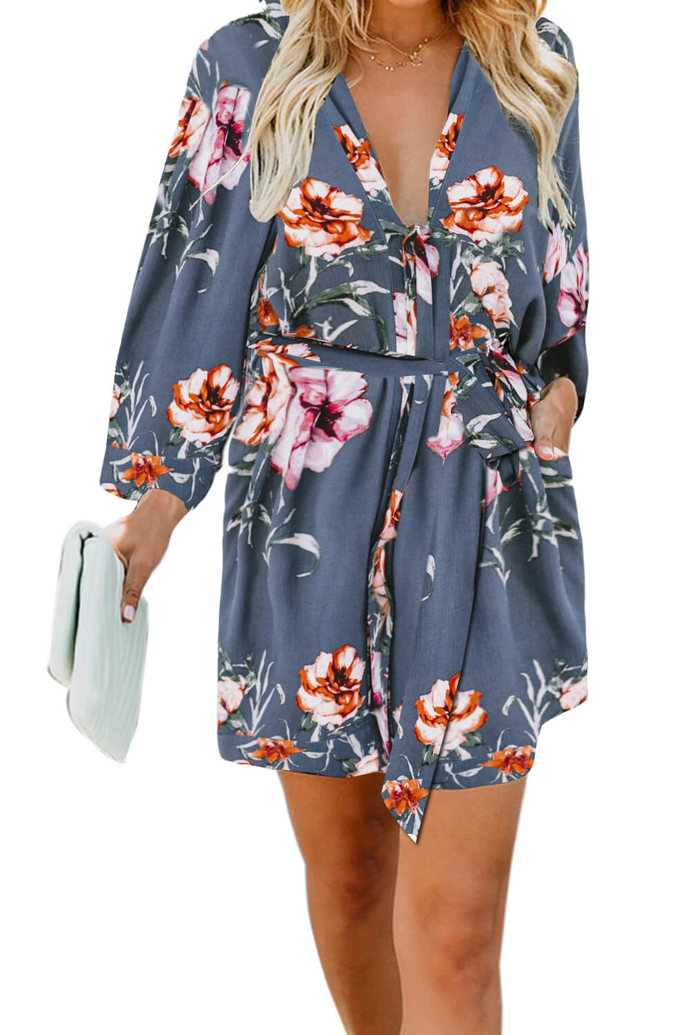 Blue Casual V Neck 3/4 Sleeve Floral Dress