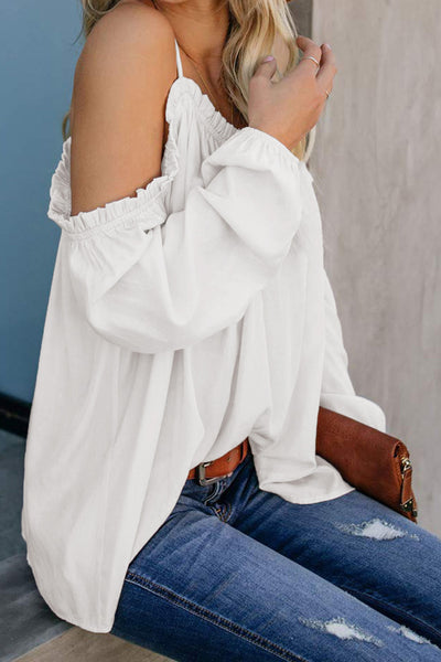 White Casual Off-Shoulder Ruffled Long Sleeve Pure Colour Top