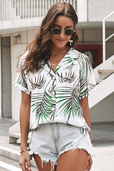 Green Printed Button Front Top