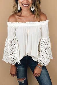 White Off The Shoulder Eyelet Sleeves Blouse