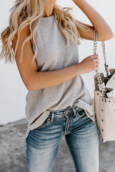 Gray Knit Tank Top