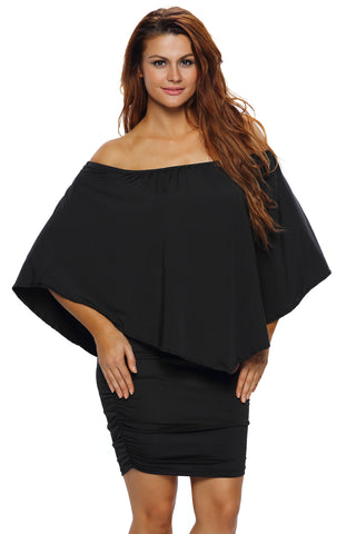 Multiple Dressing Layered Black Mini Poncho Dress
