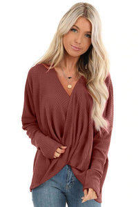 Red Waffle Texture V Neck Twist Long Sleeve Top