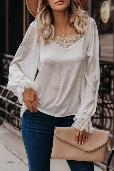 White Satin Lace Blouse