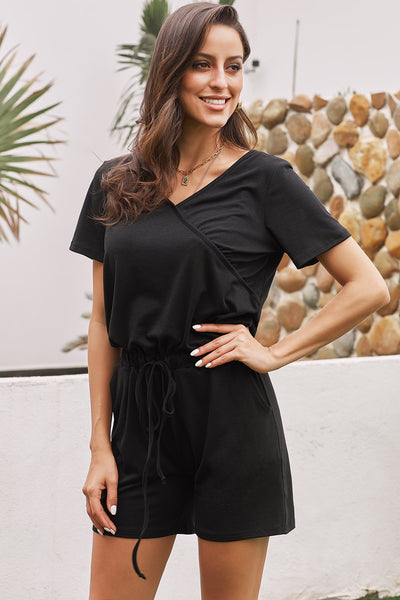 Black Casual Loose Short Sleeve Romper with Pockets