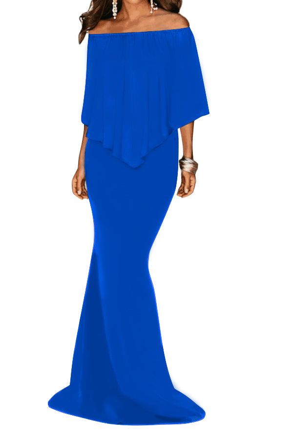 Royal Blue Off Shoulder Overlay Ruffle Evening Dress
