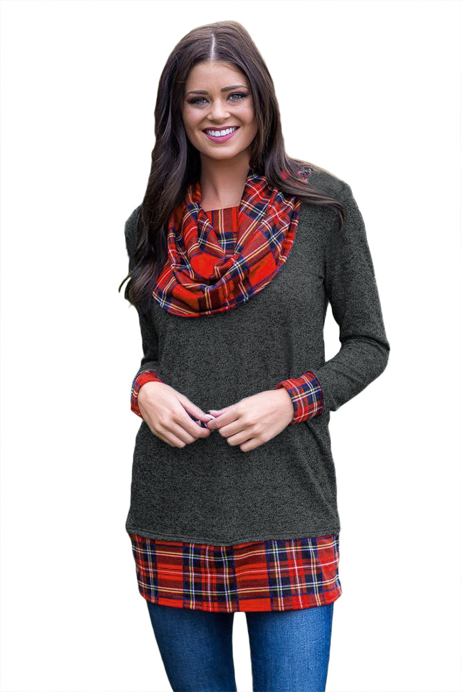Black Autumn Wind Plaid Cowl Neck Tunic