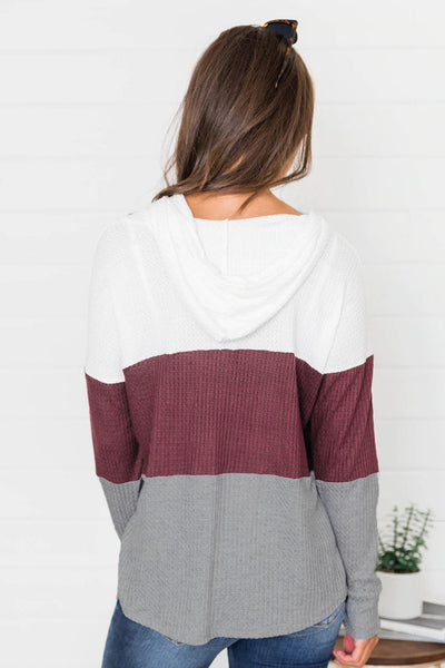 Color Block Drawstring Thumbhole Hoodie