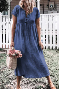 Blue Solid Button Deep V-Neck Casual Dress