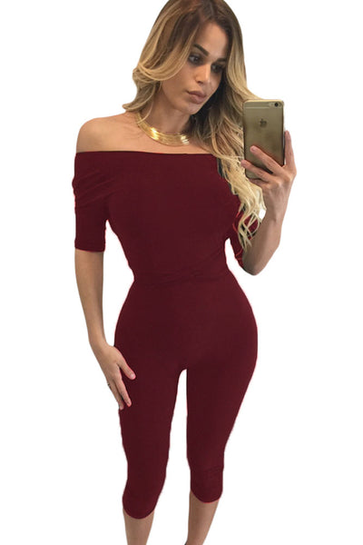 Burgundy Tie Back Cropped Jumpsuit