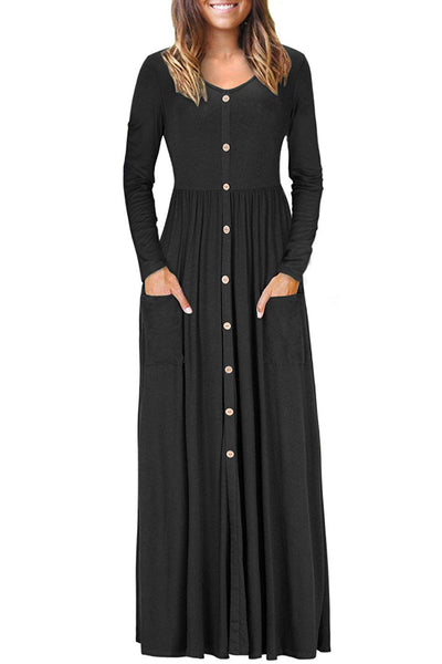 Black Button Front Pocket Style Casual Long Dress