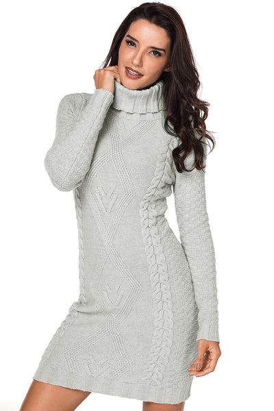 Grey Stylish Pattern Knit Turtleneck Sweater Dress
