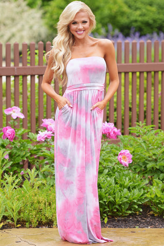 Contrast Tendril Print Pink Strapless Maxi Boho Dress