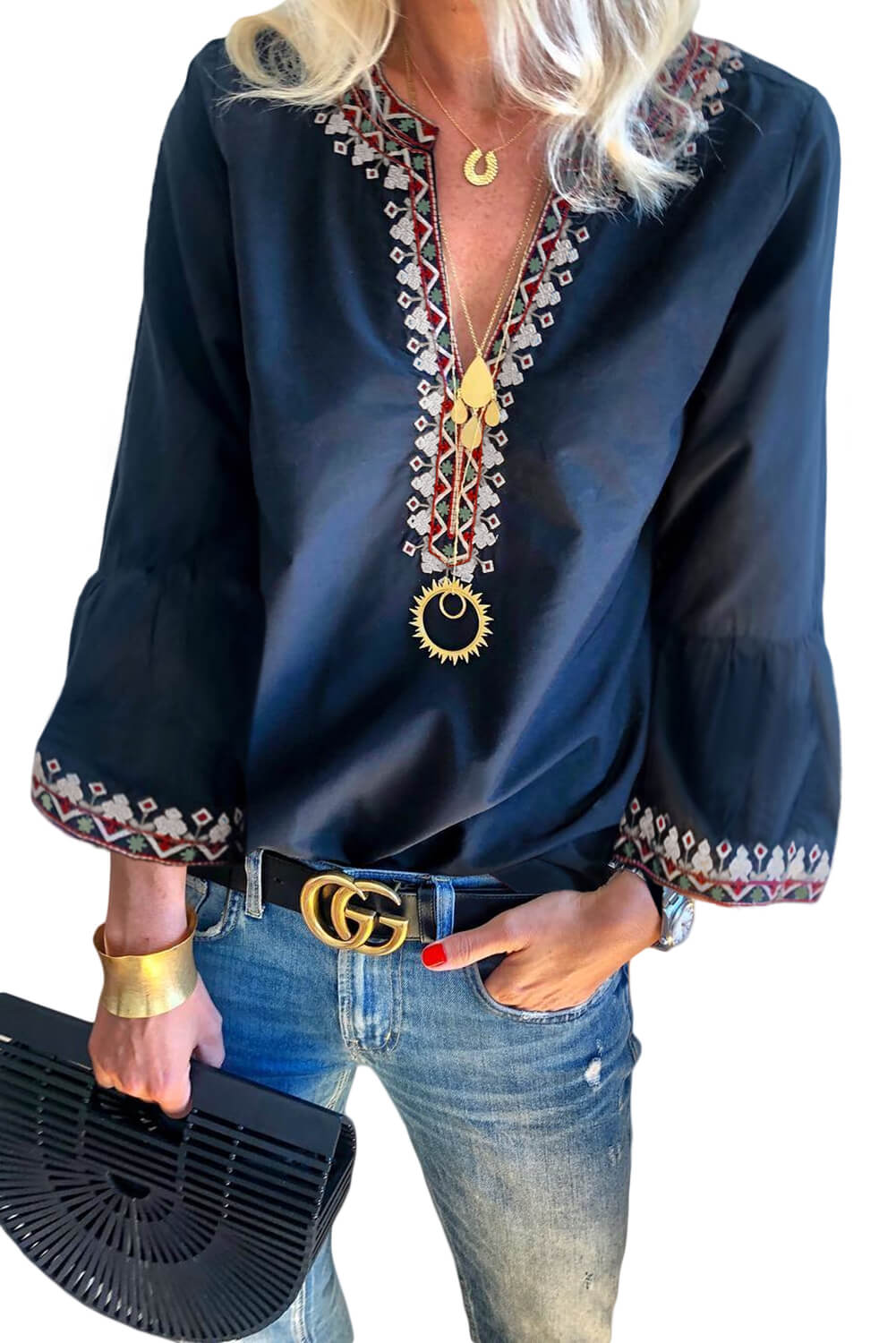 Blue Boho Floral V Neck Long Sleeve Casual Top