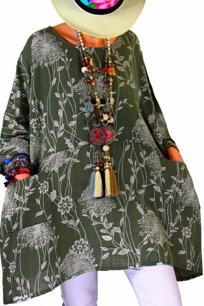 Green Cotton Linen Tunic Top with Pockets