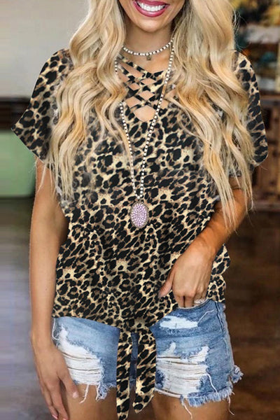 Leopard Hollow-out Neck Tee with Knot Hem
