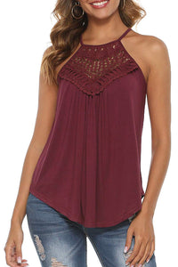 Red Crochet Patchwork Flowy Tank